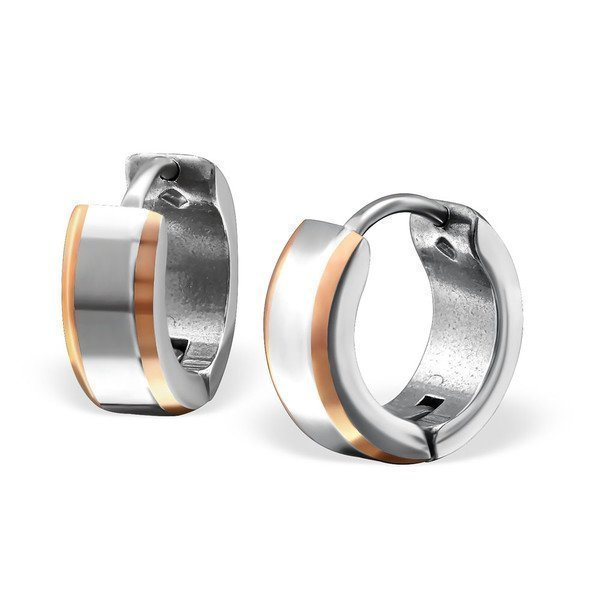 Absolut4u Double Tone Rose Gold Surgical Steel Huggies