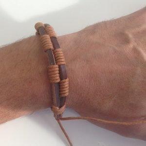 Armband Herr Äkta läder Brunt