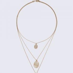 Gina Tricot 3 Coin Multirow Necklace Kaulakoru