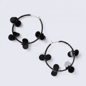 Gina Tricot Black Flower Sequin Hoop Earrings Korvakorut