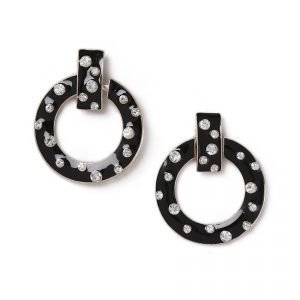 Gina Tricot Black Rhinestone Hoop Earrings Korvakorut