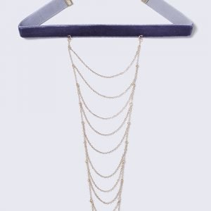 Gina Tricot Blue Suede Choker With Multilayer Chain Kaulakoru
