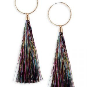Gina Tricot Bright Pink Multi Tinsel Tassel Earrings Korvakorut