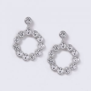 Gina Tricot Crystal Circle Drop Earrings Korvakorut