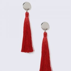 Gina Tricot Disc Red Tassel Earrings Korvakorut
