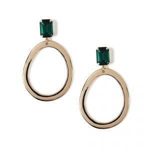 Gina Tricot Emerald Top Gold Hoop Earrings Korvakorut