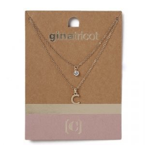 Gina Tricot Gold Look C Initial Ditsy Necklace Kaulakoru