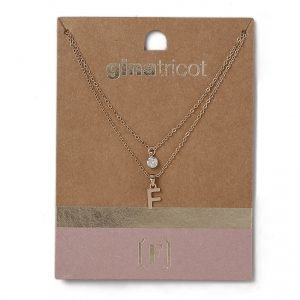 Gina Tricot Gold Look F Initial Ditsy Necklace Kaulakoru