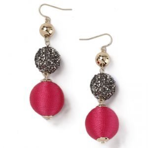 Gina Tricot Gold Look Fuschia Drop Earrings Korvakorut