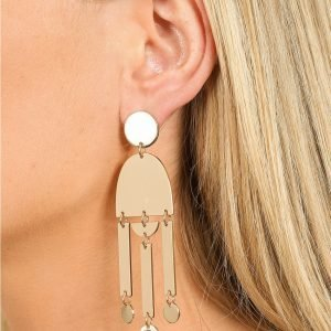 Gina Tricot Gold Look Geo Shape Drop Earring Korvakorut