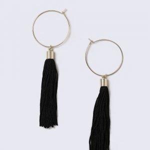 Gina Tricot Gold Look Hoop Black Tassel Earrings Korvakorut