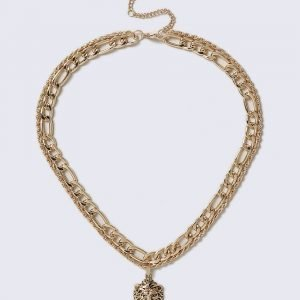 Gina Tricot Gold Look Lion Pendant Necklace Kaulakoru