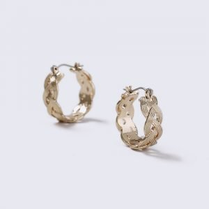 Gina Tricot Gold Look Mini Plait Hoop Earrings Korvakorut