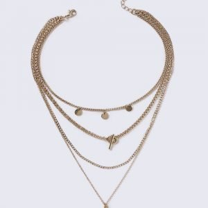 Gina Tricot Gold Look Multi Coin Necklace Kaulakoru