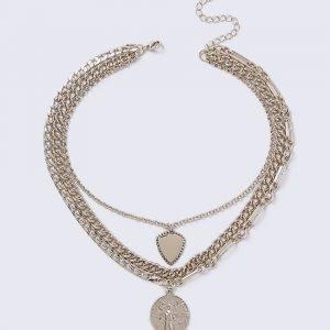 Gina Tricot Gold Look Multirow Coin Necklace Kaulakoru