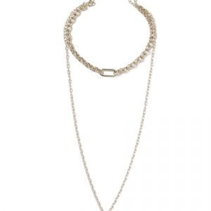 Gina Tricot Gold Look Multirow Necklace Kaulakoru