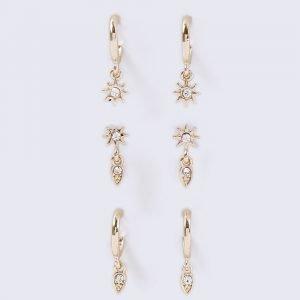Gina Tricot Gold Look Star Hoop Earrings Pack Korvakorut