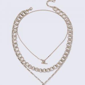 Gina Tricot Gold Look T-Bar Coin Necklace Kaulakoru