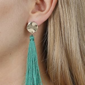 Gina Tricot Green Disc Tassel Earrings Korvakorut