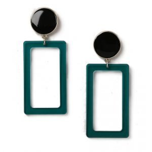 Gina Tricot Green Resin Rectangle Earrings Korvakorut