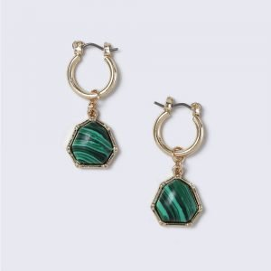 Gina Tricot Green Stone Drop Hoop Earrings Korvakorut