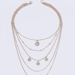 Gina Tricot Loved Rose Gold Charm Multirow Kaulakoru