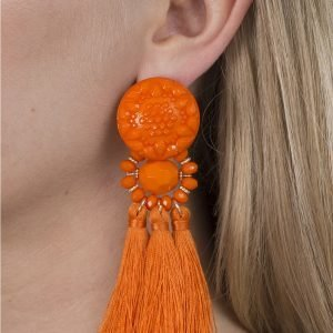 Gina Tricot Orange Beaded Tassel Earrings Korvakorut