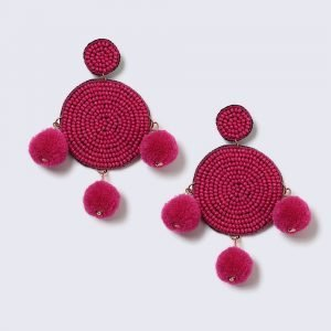 Gina Tricot Pink Beaded And Pom Pom Statement Earrings Korvakorut