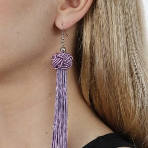 Gina Tricot Purple Knot Tassel Earrings Korvakorut