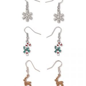 Gina Tricot Red Multi Reindeer Charm Drop Earrings Pack Korvakorut