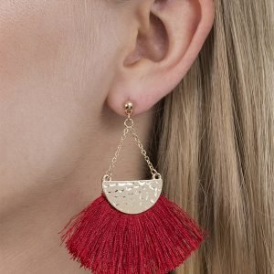 Gina Tricot Red Triangle Tassel Earrings Korvakorut