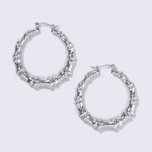 Gina Tricot Rhodium Bamboo Hoop Earrings Korvakorut
