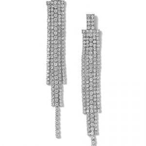Gina Tricot Rhodium Drop Rhinestone Earrings Korvakorut