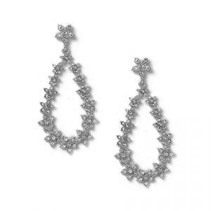 Gina Tricot Rhodium Flower Drop Earrings Korvakorut