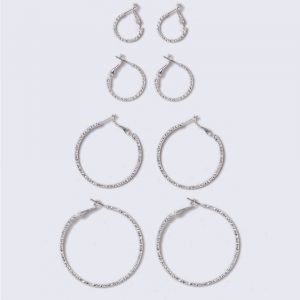 Gina Tricot Rhodium Multipack Hoop Earrings Korvakorut