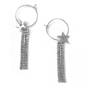 Gina Tricot Rhodium Rhinestone Hoop Earrings Korvakorut