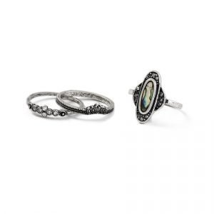 Gina Tricot Rhodium Ring Multipack Sormus