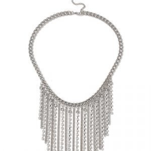 Gina Tricot Rhodium Waterfall Chain Necklace Kaulakoru