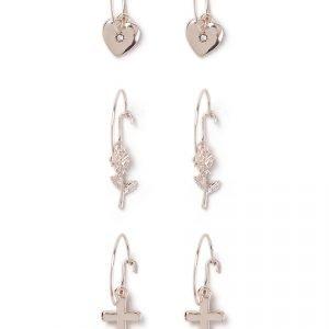 Gina Tricot Rose Gold Charm Earring Multipack Korvakorut