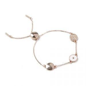 Gina Tricot Rose Gold Look Enamel Circle Wristwear Rannekoru