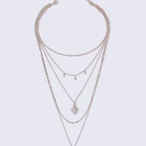 Gina Tricot Rose Gold Look Rhinestone Multirow Necklace Kaulakoru