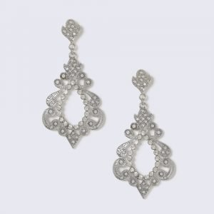 Gina Tricot Silver Look Crystal Cut Out Drop Earring Korvakorut