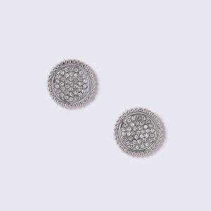 Gina Tricot Silver Look Crystal Detail Stud Korvakorut