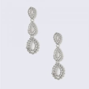 Gina Tricot Silver Look Crystal Tear Drop Earring Korvakorut