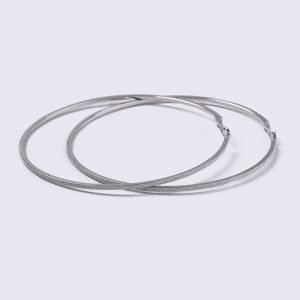 Gina Tricot Silver Look Gliter Large Hoop Earrings Korvakorut