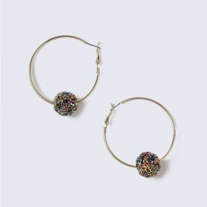 Gina Tricot Silver Look Hoop With Sparkle Ball Korvakorut