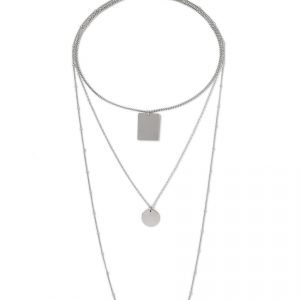 Gina Tricot Silver Look Long Multirow Necklace Kaulakoru