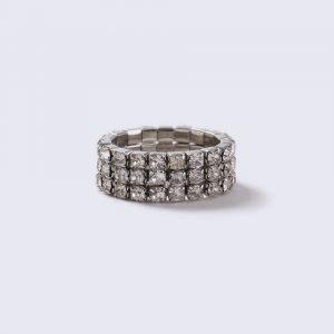 Gina Tricot Silver Look Rhinestone Stretch Ring Sormus