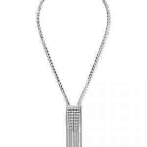 Gina Tricot Silver Look Rhinestone Tassel Neckwear Kaulakoru