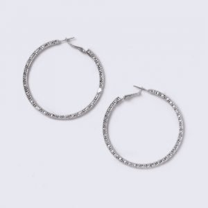 Gina Tricot Silver Look Thick Textured Hoop Earrings Korvakorut